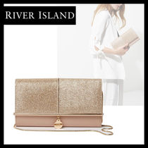 River Island Faux Fur 2WAY Plain Party Style With Jewels Clutches