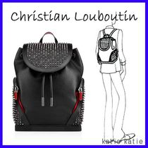 Christian Louboutin Studded A4 Plain Leather Backpacks
