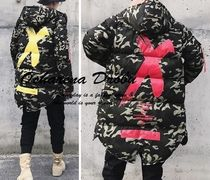 Camouflage Leopard Patterns Street Style Long Parkas