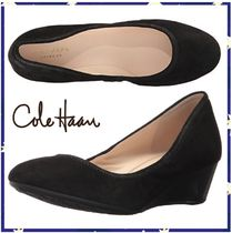 Cole Haan Round Toe Suede Plain Wedge Pumps & Mules