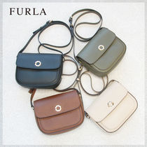 FURLA Casual Style Plain Leather Shoulder Bags