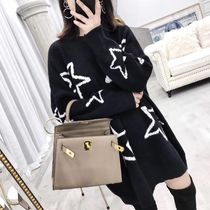 Star Casual Style U-Neck Long Sleeves Long Special Edition