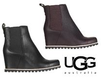 UGG Australia Casual Style Street Style Plain Leather Wedge Boots