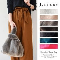 Faux Fur Plain Purses Shoppers