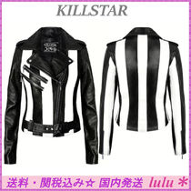 DOLLS KILL Short Stripes Casual Style Faux Fur Biker Jackets