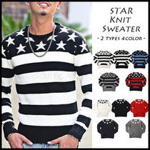 Crew Neck Pullovers Stripes Star Street Style Long Sleeves