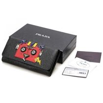 PRADA SAFFIANO LUX Studded Leather Long Wallets