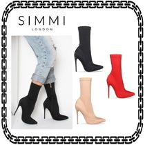 SIMMI Plain Pin Heels Elegant Style Ankle & Booties Boots