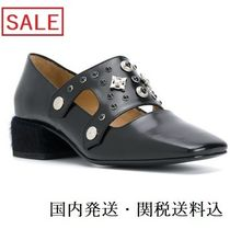TOGA Square Toe Studded Plain Leather Block Heels Elegant Style