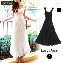 Chiffon Sleeveless Plain Long Dresses