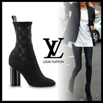 Louis Vuitton Monogram Plain Toe Plain Block Heels Elegant Style