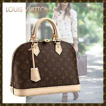 Louis Vuitton ALMA Monogram Canvas Blended Fabrics A4 Bi-color Elegant Style