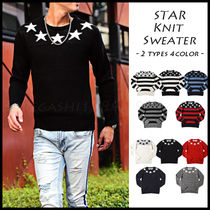 Crew Neck Pullovers Star Unisex Street Style Long Sleeves