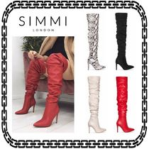 SIMMI Casual Style Suede Plain Other Animal Patterns Pin Heels