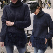 Wool Rib Blended Fabrics Long Sleeves Plain Long