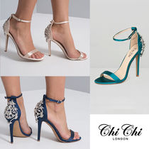 Chi Chi London Open Toe Plain Pin Heels With Jewels Elegant Style Shoes