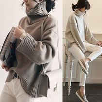 Wool Plain High-Neck Puff Sleeves Sweaters