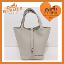 HERMES Picotin Casual Style Unisex Plain Leather Purses Totes