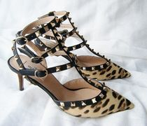 VALENTINO Leopard Patterns Spawn Skin Blended Fabrics Studded