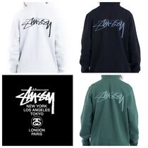 STUSSY Street Style Long Sleeves Cotton Hoodies