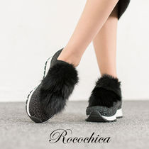 Casual Style Fur Plain Low-Top Sneakers