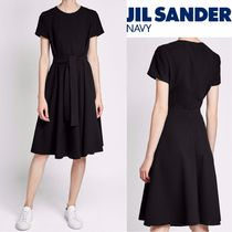 Jil Sander Casual Style Flared U-Neck Plain Medium Short Sleeves
