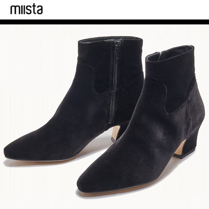 Casual Style Plain Chunky Heels Mid Heel Boots