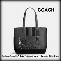 Coach Blended Fabrics Studded Plain Leather Totes
