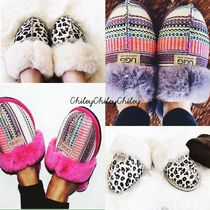 Leopard Patterns Round Toe Rubber Sole Casual Style Unisex