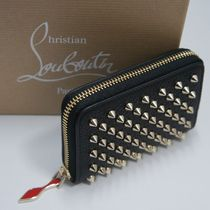 Christian Louboutin Panettone  Unisex Studded Plain Leather Coin Cases