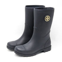 Tory Burch Plain Toe Rubber Sole Casual Style Flat Boots