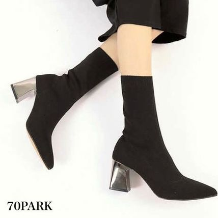 Ankle & Booties Casual Style Street Style Plain Block Heels 2