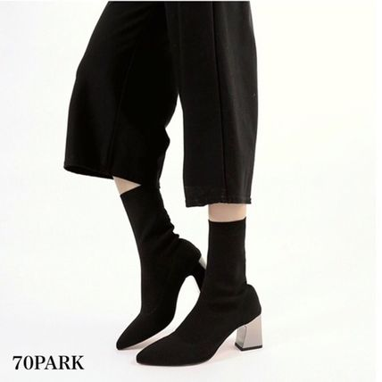 Ankle & Booties Casual Style Street Style Plain Block Heels 4