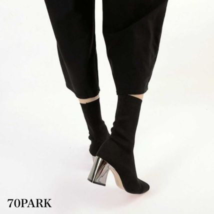 Ankle & Booties Casual Style Street Style Plain Block Heels 5