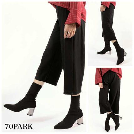 Ankle & Booties Casual Style Street Style Plain Block Heels 6