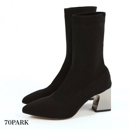Ankle & Booties Casual Style Street Style Plain Block Heels 7