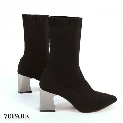 Ankle & Booties Casual Style Street Style Plain Block Heels 9