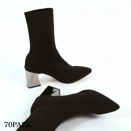 Ankle & Booties Casual Style Street Style Plain Block Heels 10