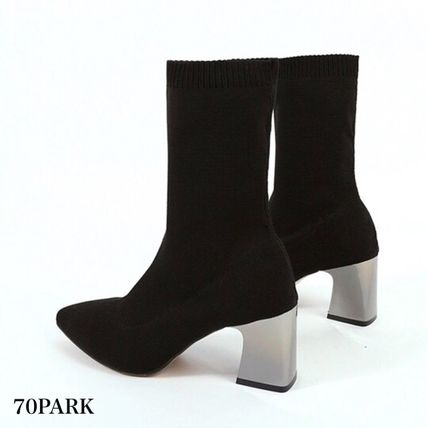 Ankle & Booties Casual Style Street Style Plain Block Heels 11