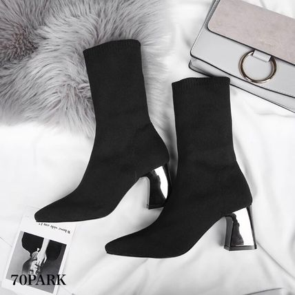 Ankle & Booties Casual Style Street Style Plain Block Heels