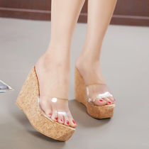 Open Toe Plain Platform & Wedge Sandals