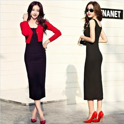 Dresses Tight Sleeveless Plain Long Dresses 3