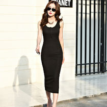 Tight Sleeveless Plain Long Dresses