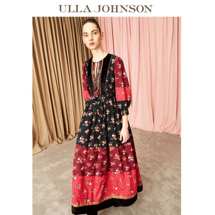 Flower Patterns Puffed Sleeves Flared Cotton Long Dresses