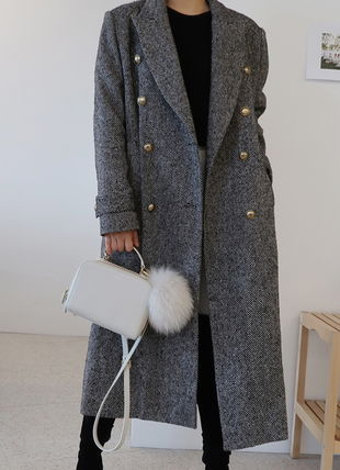 Other Plaid Patterns Wool Long Elegant Style Chester Coats