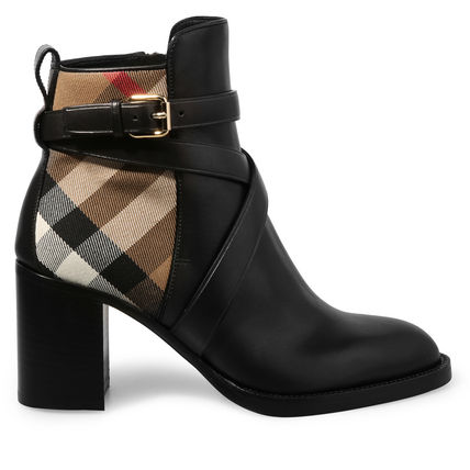 Leather Mid Heel Boots