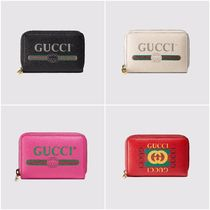 GUCCI Plain Leather Card Holders