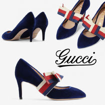 GUCCI Sylvie Stripes Round Toe Suede Pin Heels Elegant Style