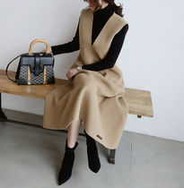 Casual Style Wool Street Style V-Neck Plain Long Dresses