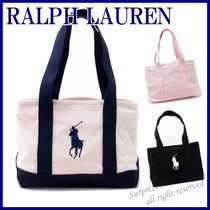 POLO RALPH LAUREN Unisex Canvas Street Style A4 Bi-color Plain Totes